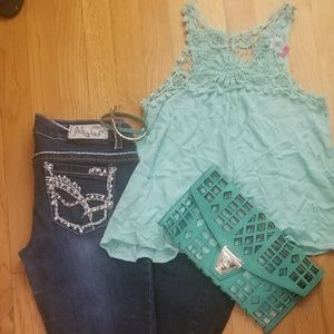 Turquoise outfit with bracelet & purse